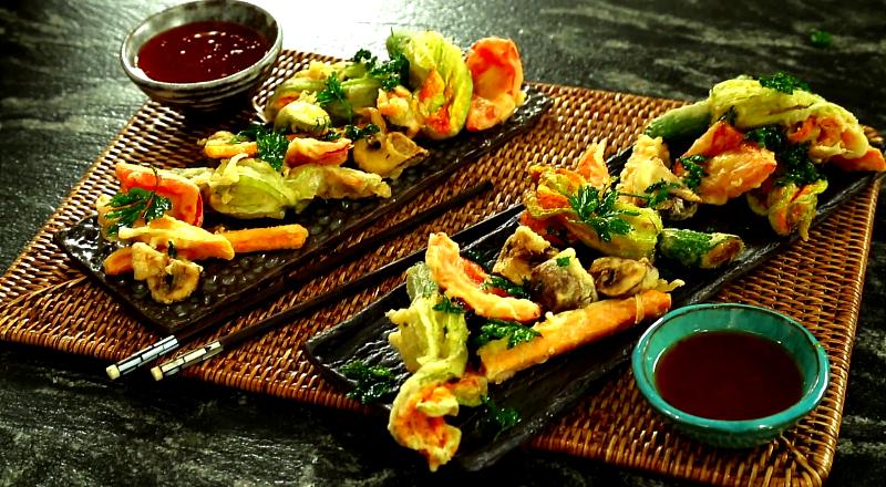 Japońska tempura z kwiatów cukinii